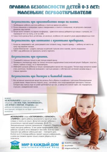 Правила безопасности детей 0-3 лет (маленькие первооткрыватели) 1 ver